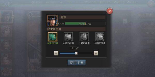 正伝三国志のレベル上げ画面